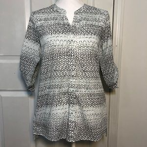 Foxcroft White/Green Ombre Print Split Neck Shirt